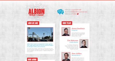 Albion West Coast Website Screenshot