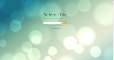 Before I Die Website Screenshot