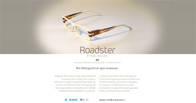 Roadster Eyeglasses Website Screenshot