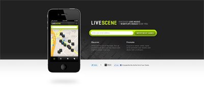 LiveScene Website Screenshot