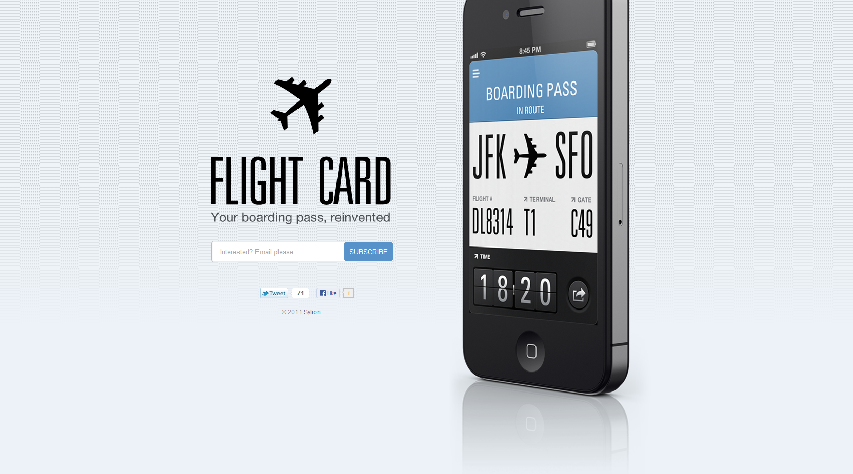 Flight Card Website Screenshot