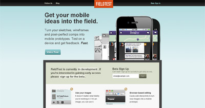 FieldTest Website Screenshot
