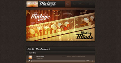 Vintage Productions Website Screenshot