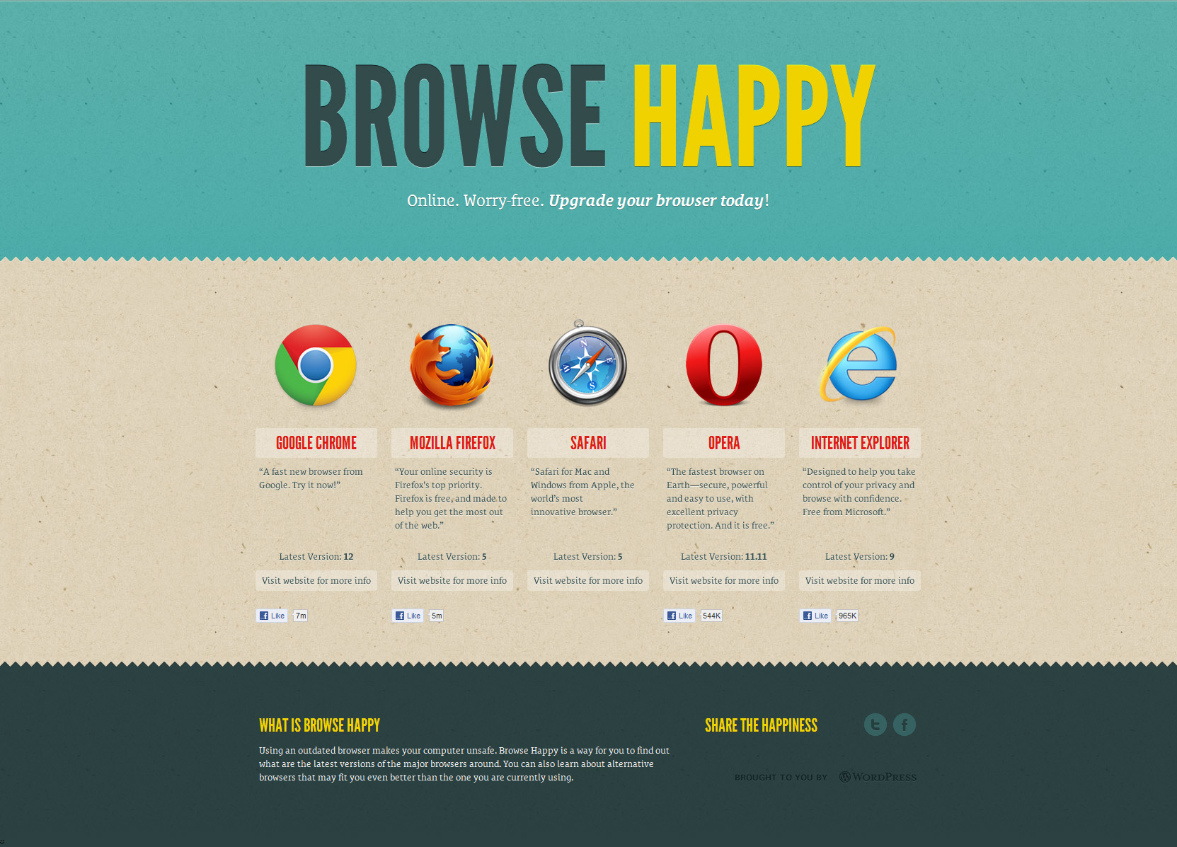 Browse Happy Website Screenshot