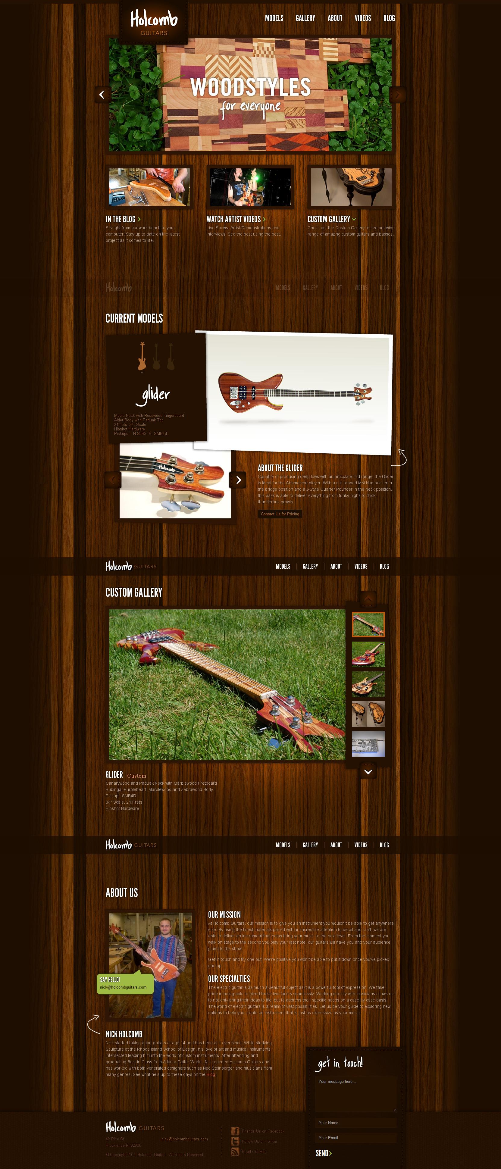 Holcomb Guitars Website Screenshot