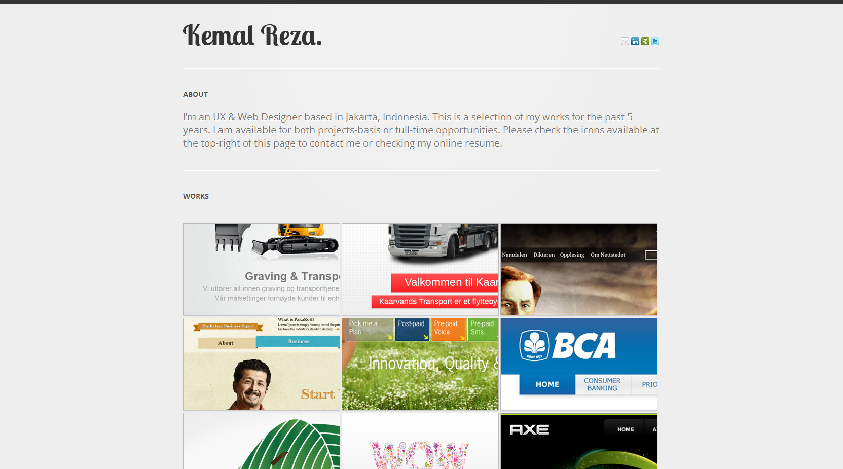 Kemal Reza Website Screenshot