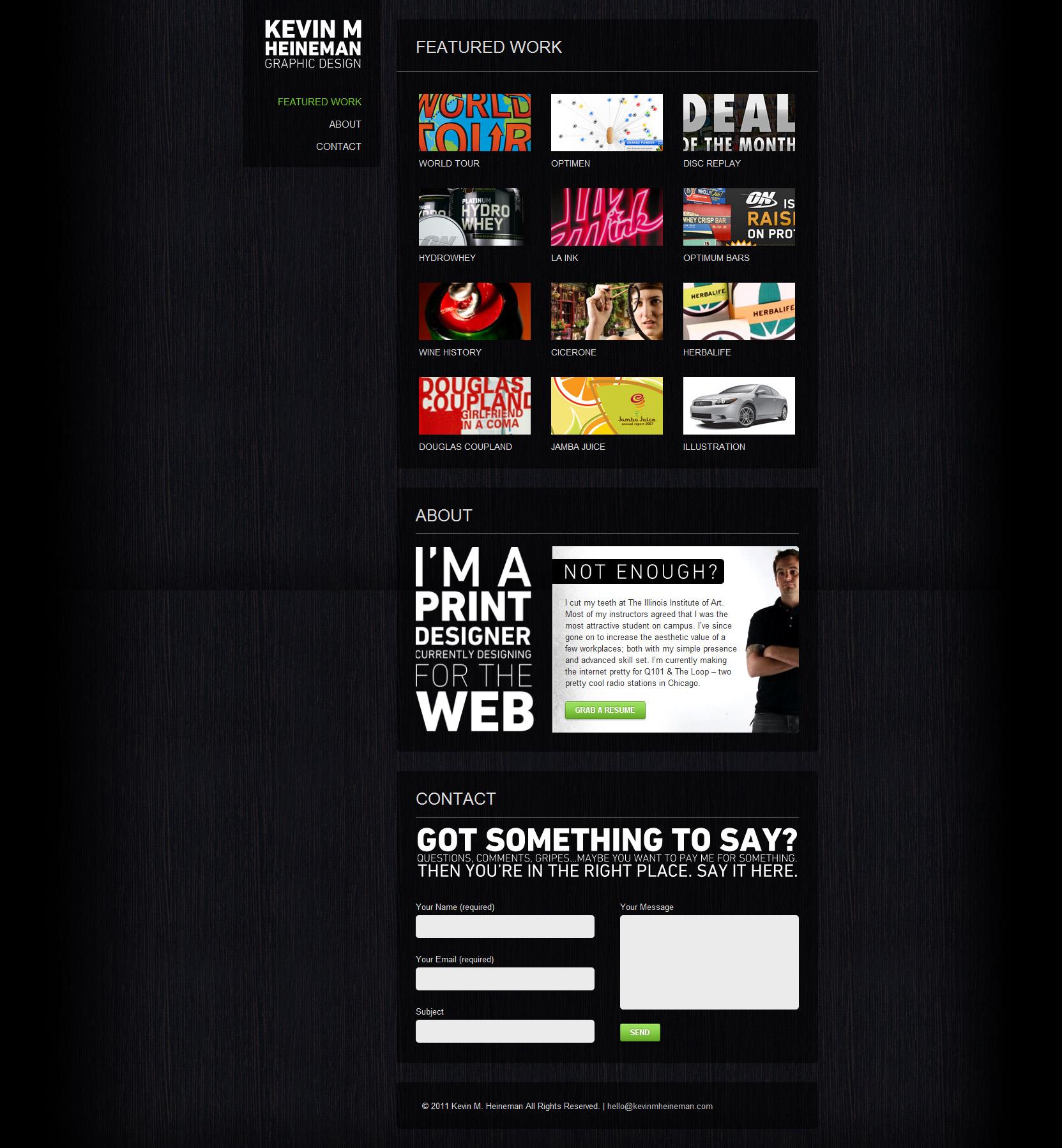 Kevin M. Heineman Website Screenshot