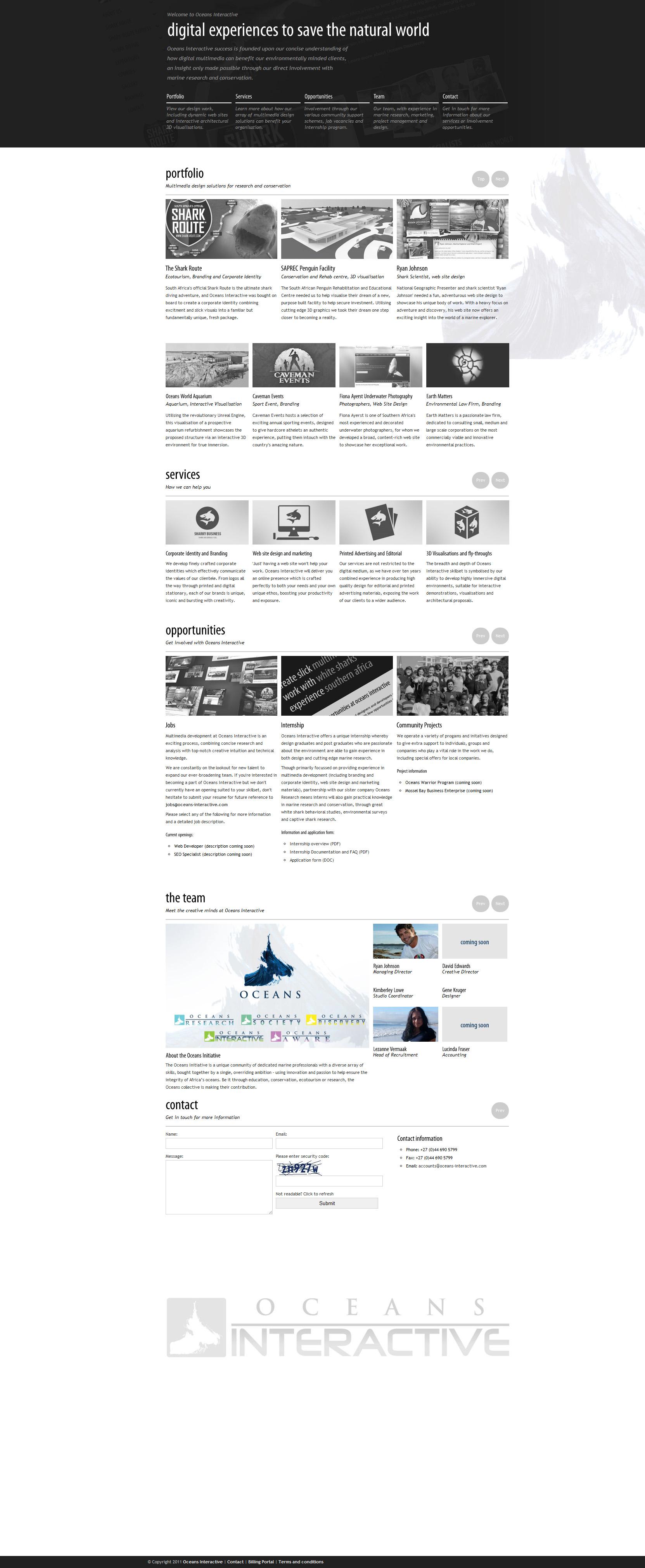 Oceans Interactive Website Screenshot