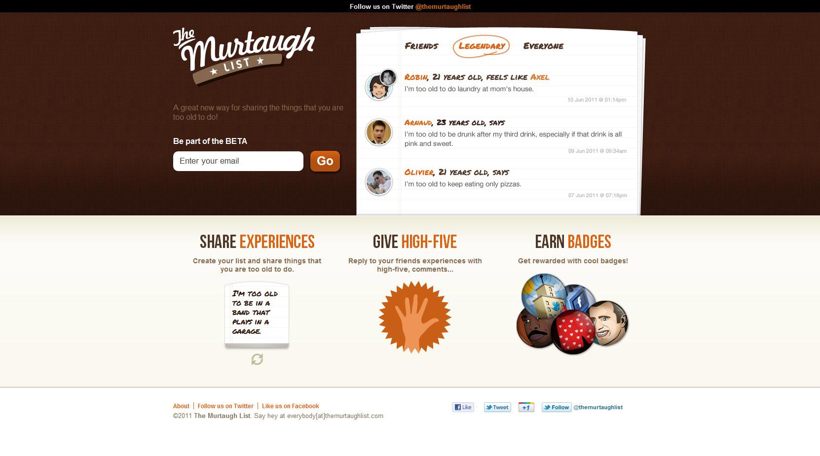 The Murtaugh List Website Screenshot