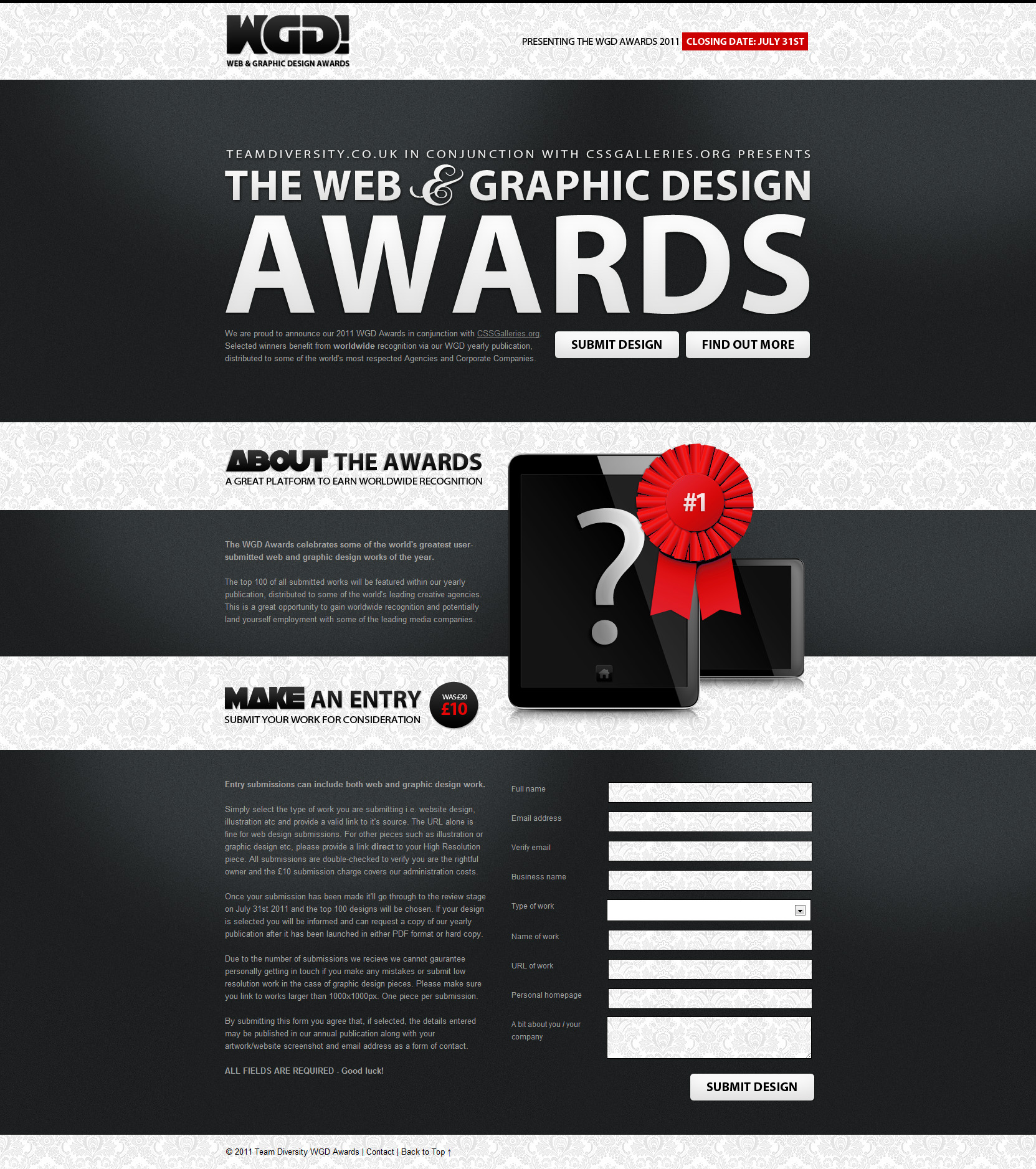 2011 WGD Awards Website Screenshot