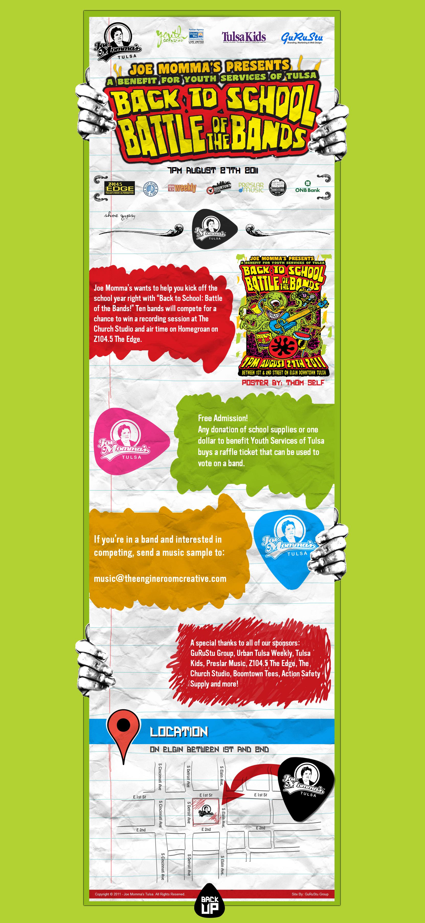 Joe Momma's Battle of the Bands Website Screenshot