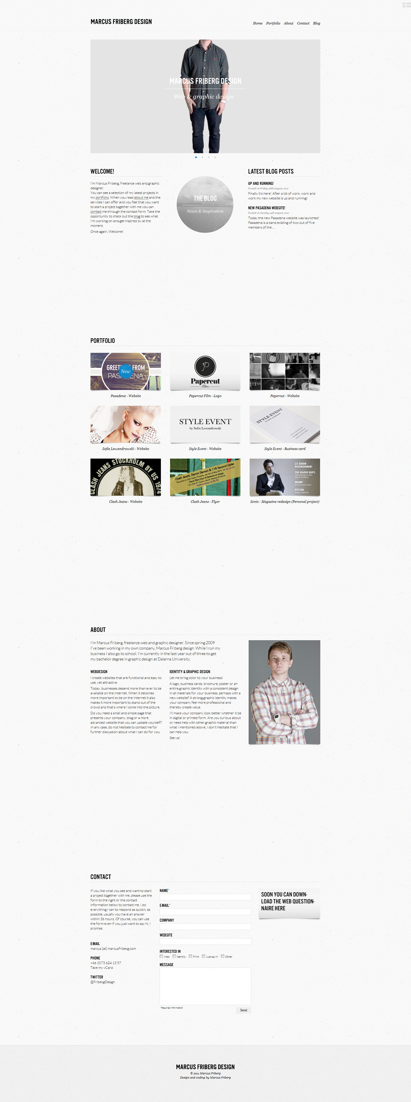 Marcus Friberg Design Website Screenshot