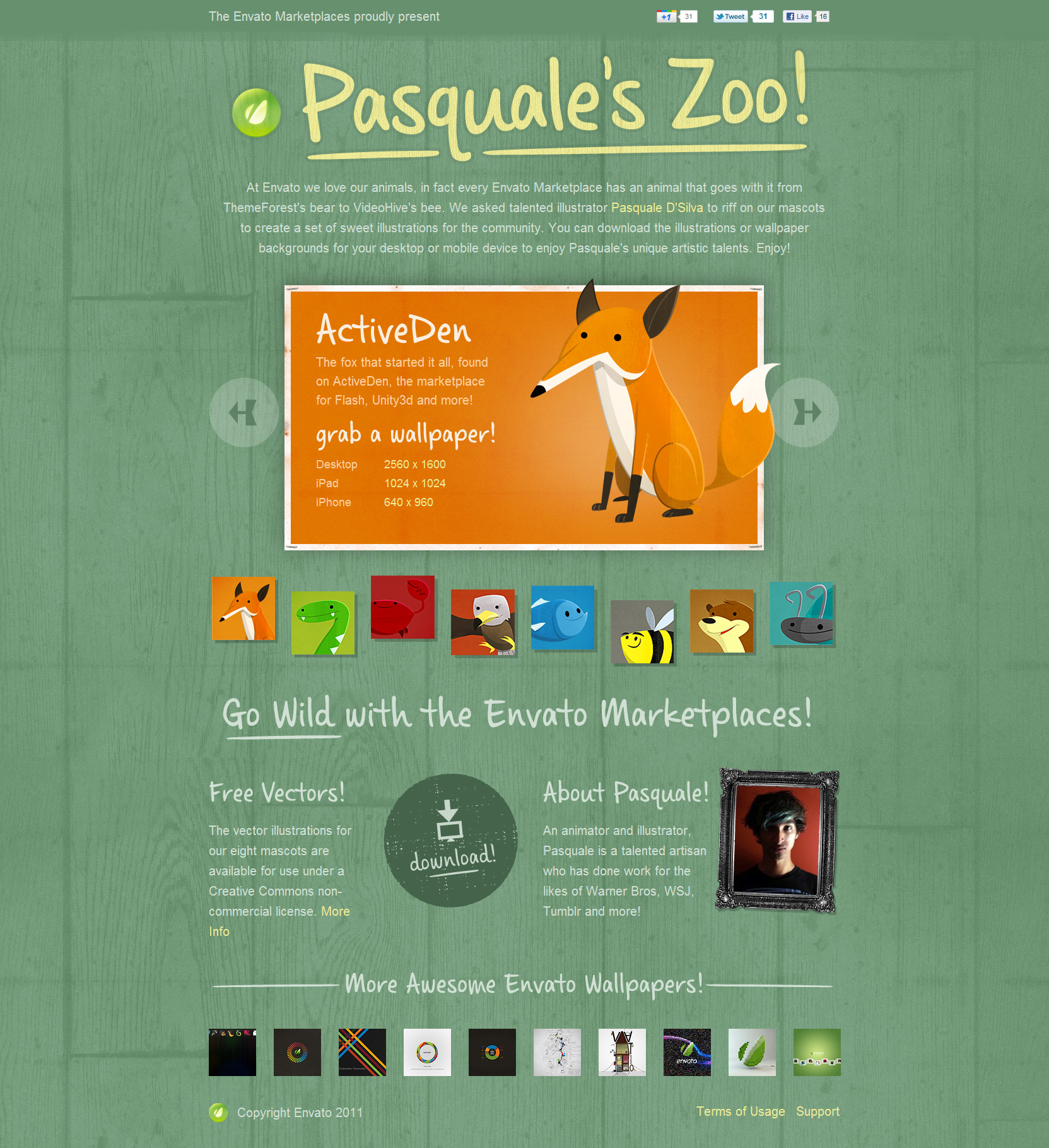 Pasquale's Zoo Website Screenshot