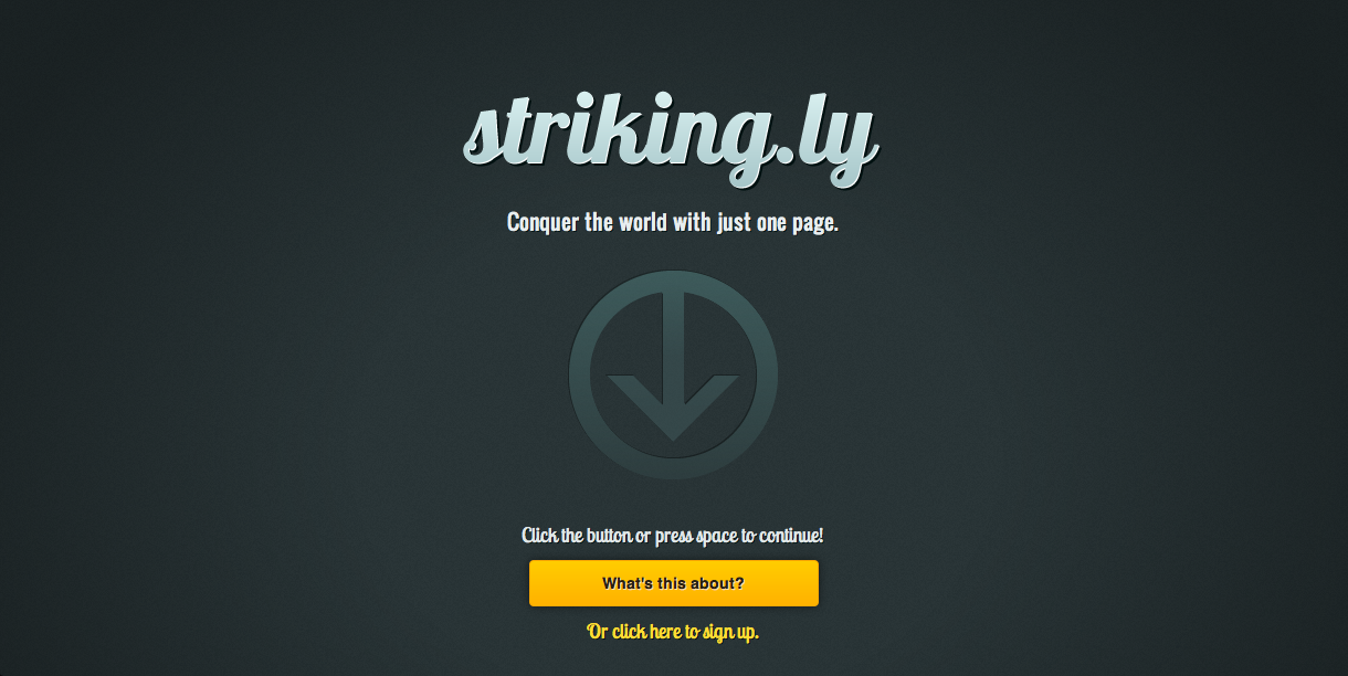 Striking.ly Website Screenshot