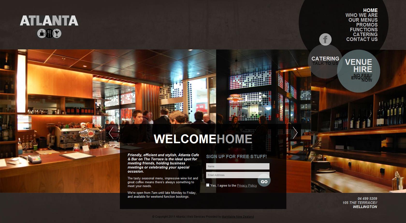 Atlanta Cafe & Bar Website Screenshot