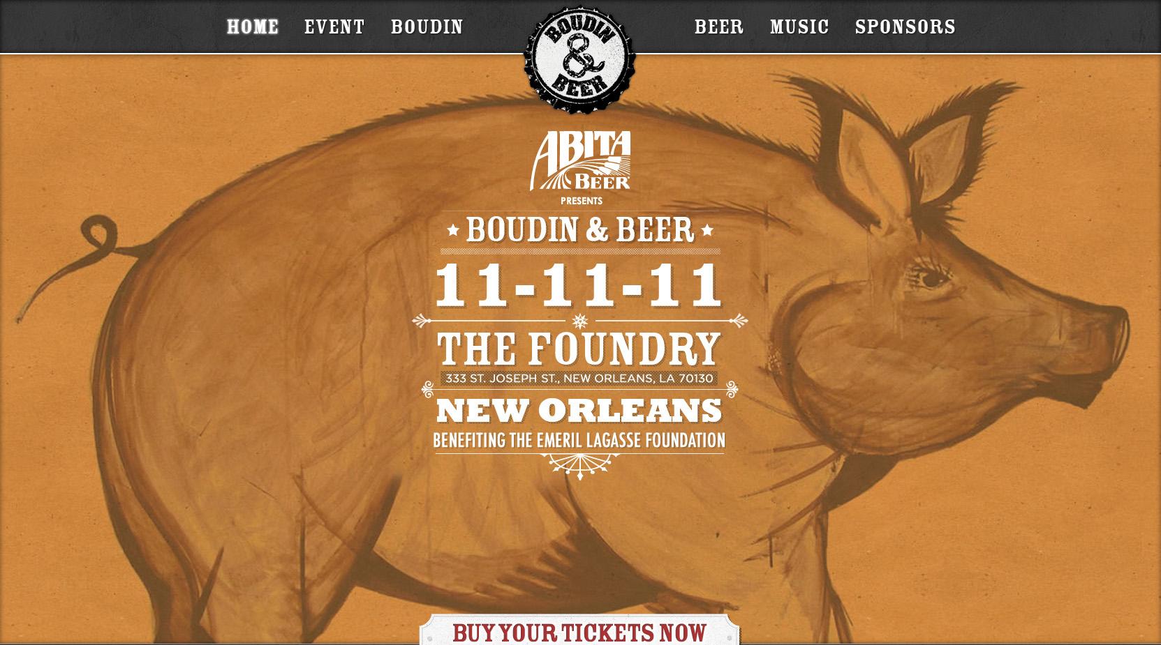 Boudin & Beer Website Screenshot