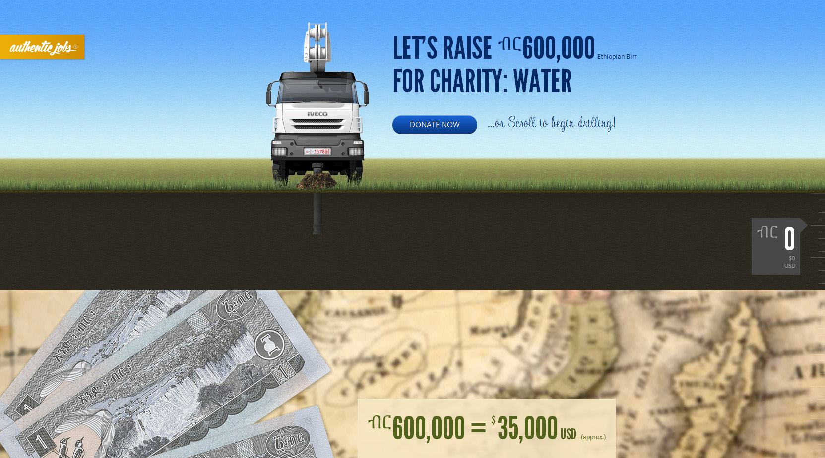 Authentic Jobs Charity: Water Campaign 2011 Website Screenshot