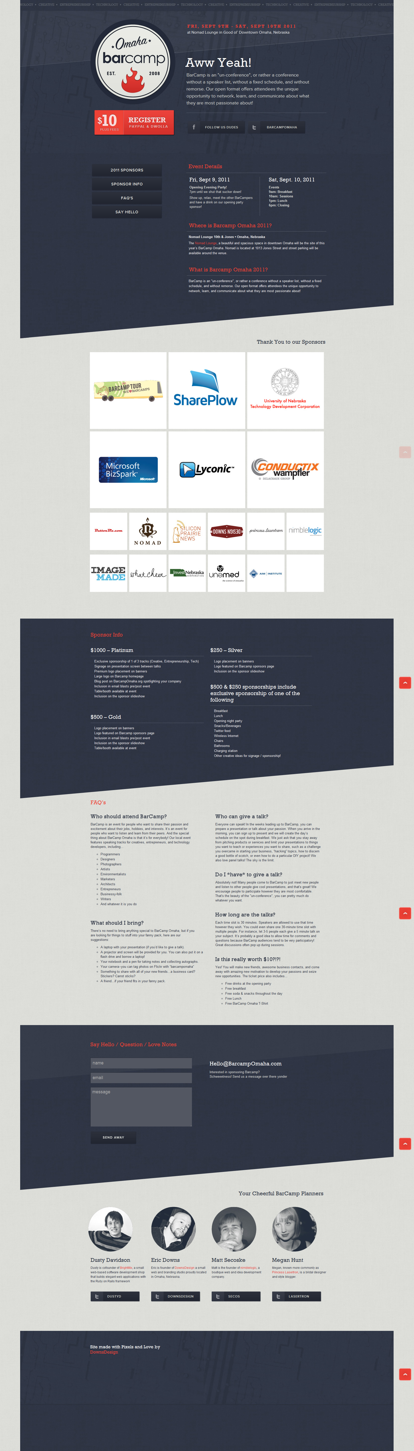 BarCamp Omaha Website Screenshot