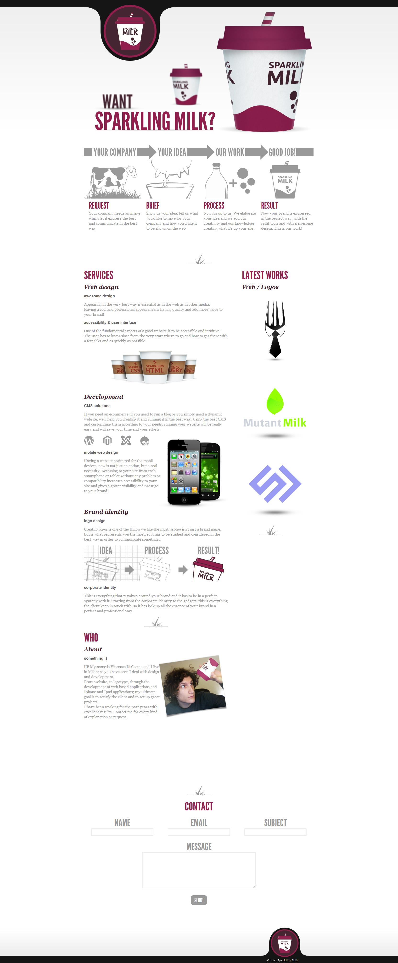Sparkling Milk Website Screenshot