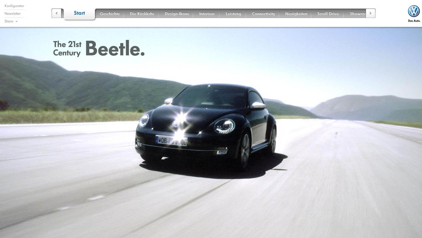 Volkswagen Beetle Website Screenshot