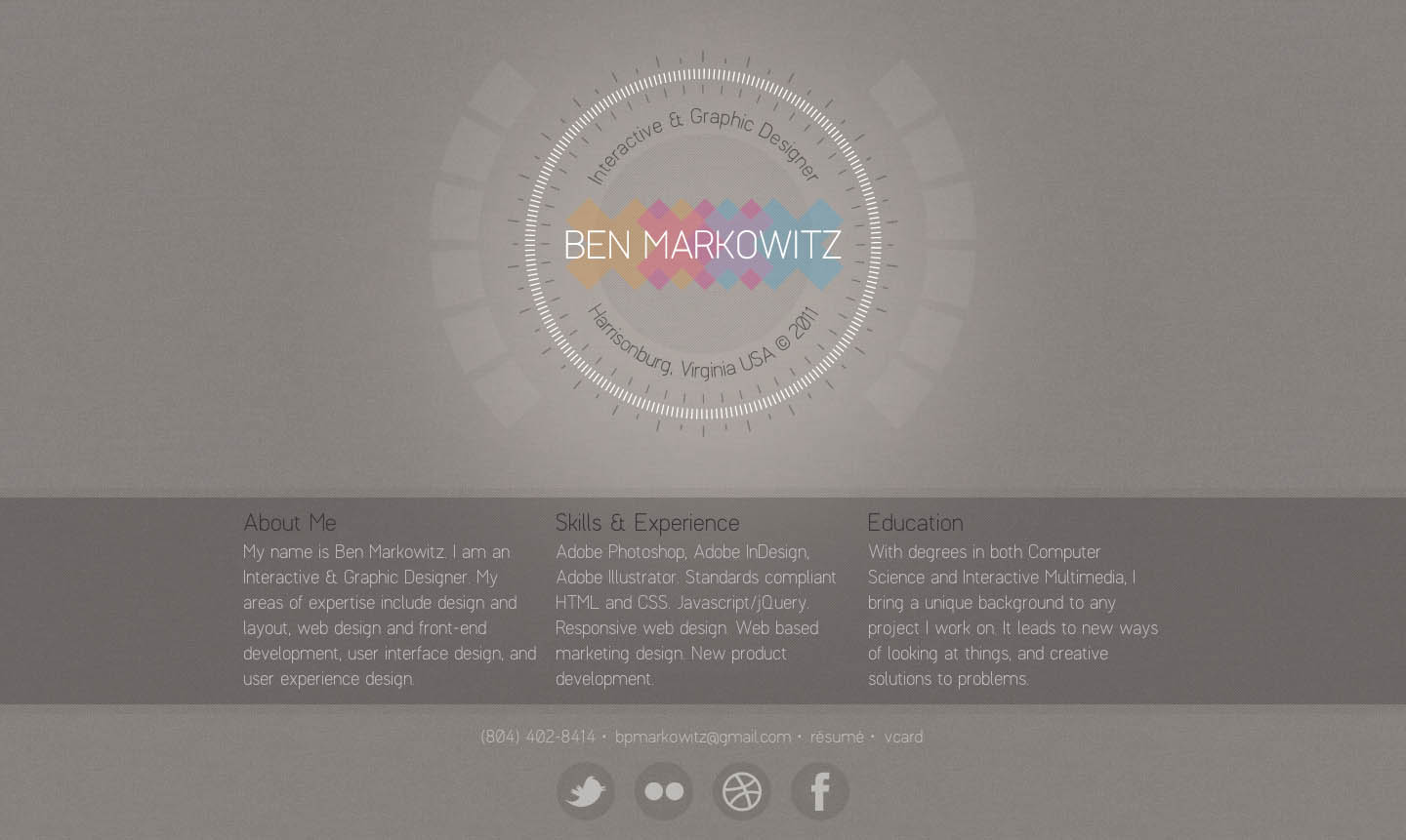 Ben Markowitz Website Screenshot