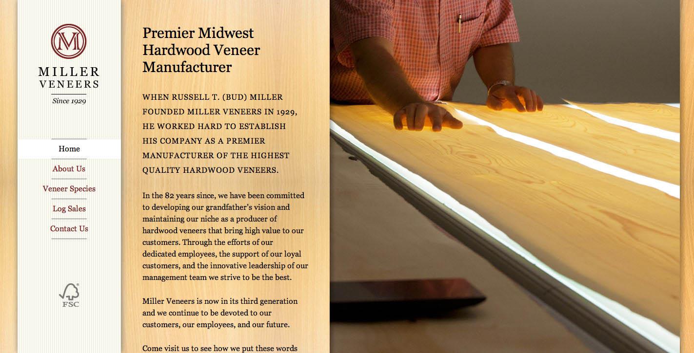 Miller Veneers Website Screenshot