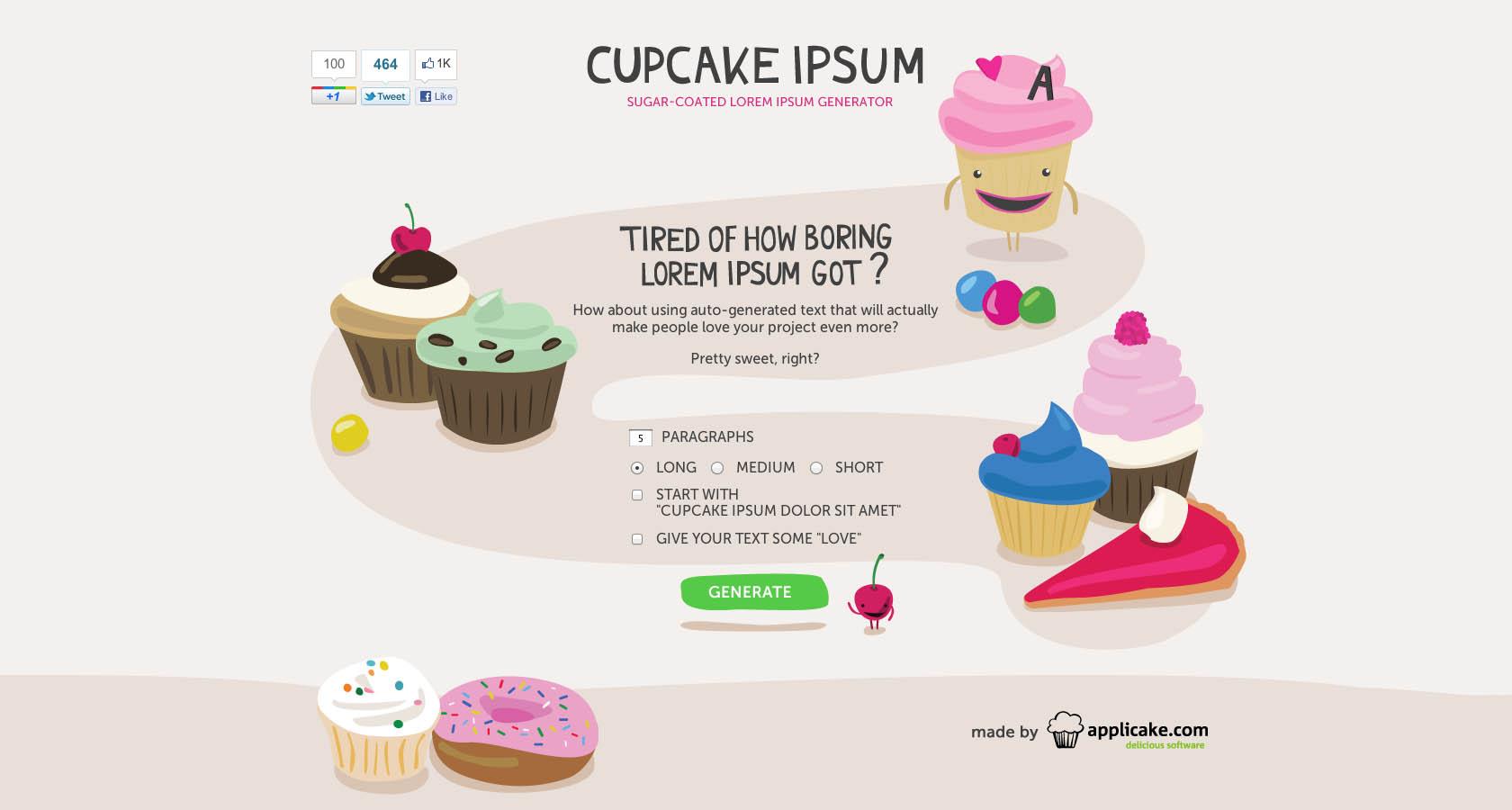 Cupcake Ipsum Website Screenshot