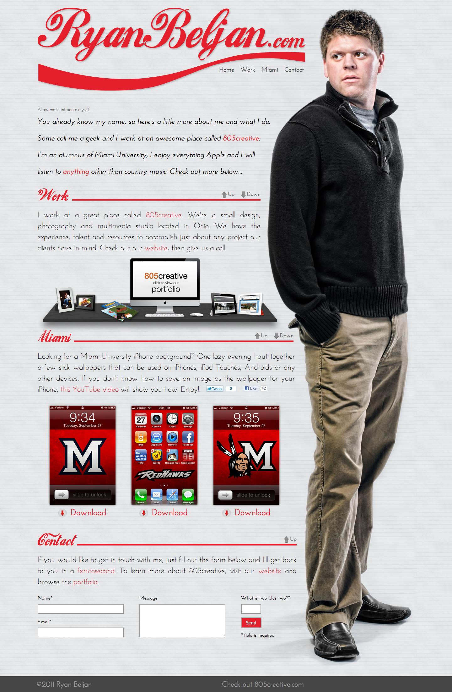 Ryan Beljan Website Screenshot