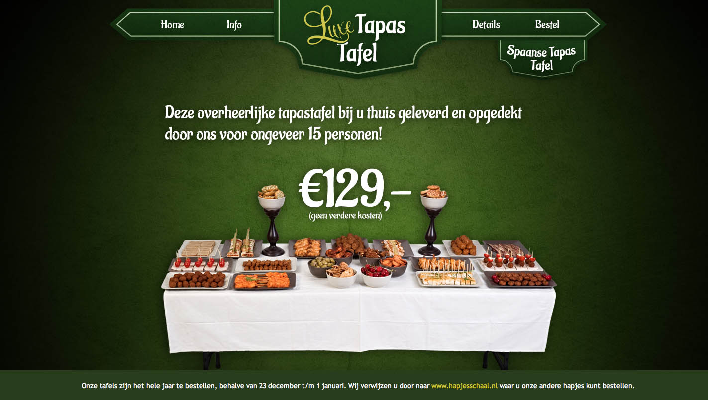 Luxe Tapas Tafel Website Screenshot