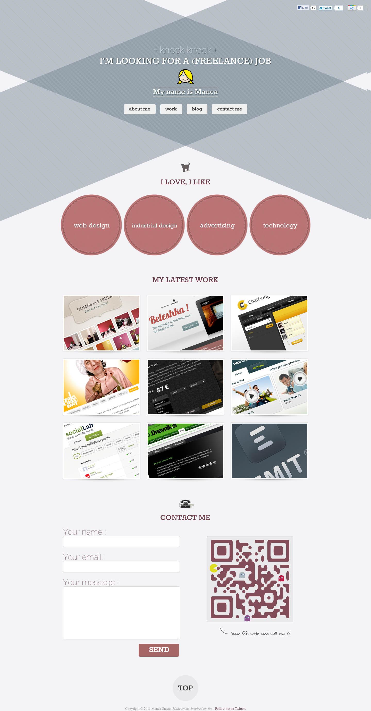 Manca Gracar Website Screenshot