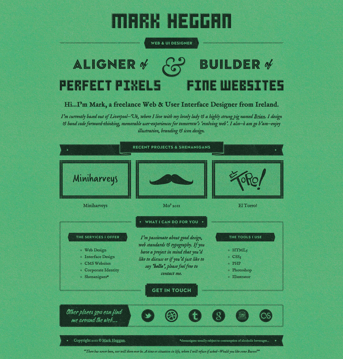 Mark Heggan Website Screenshot