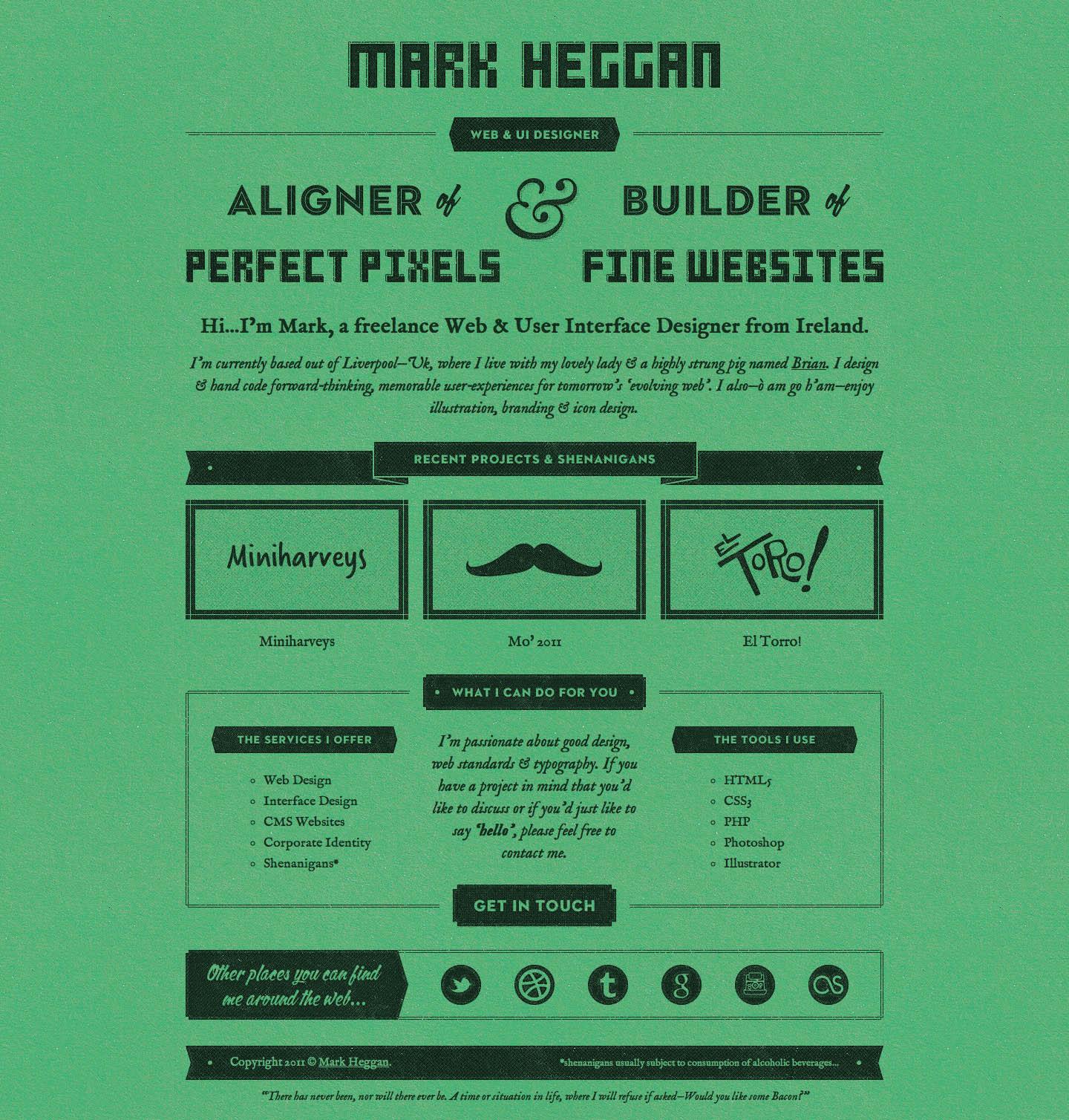 Mark Heggan Website Screenshot