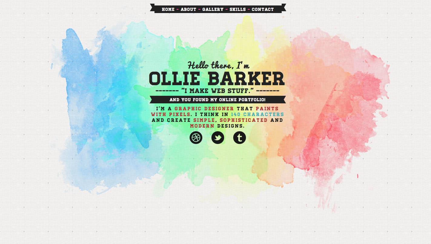 Ollie Barker Website Screenshot