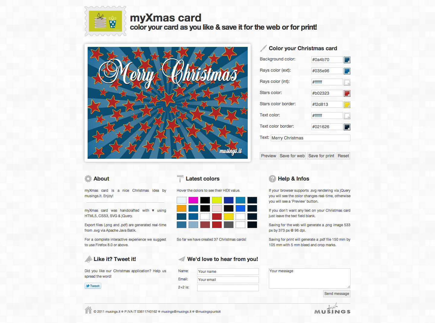 my Xmas card Website Screenshot