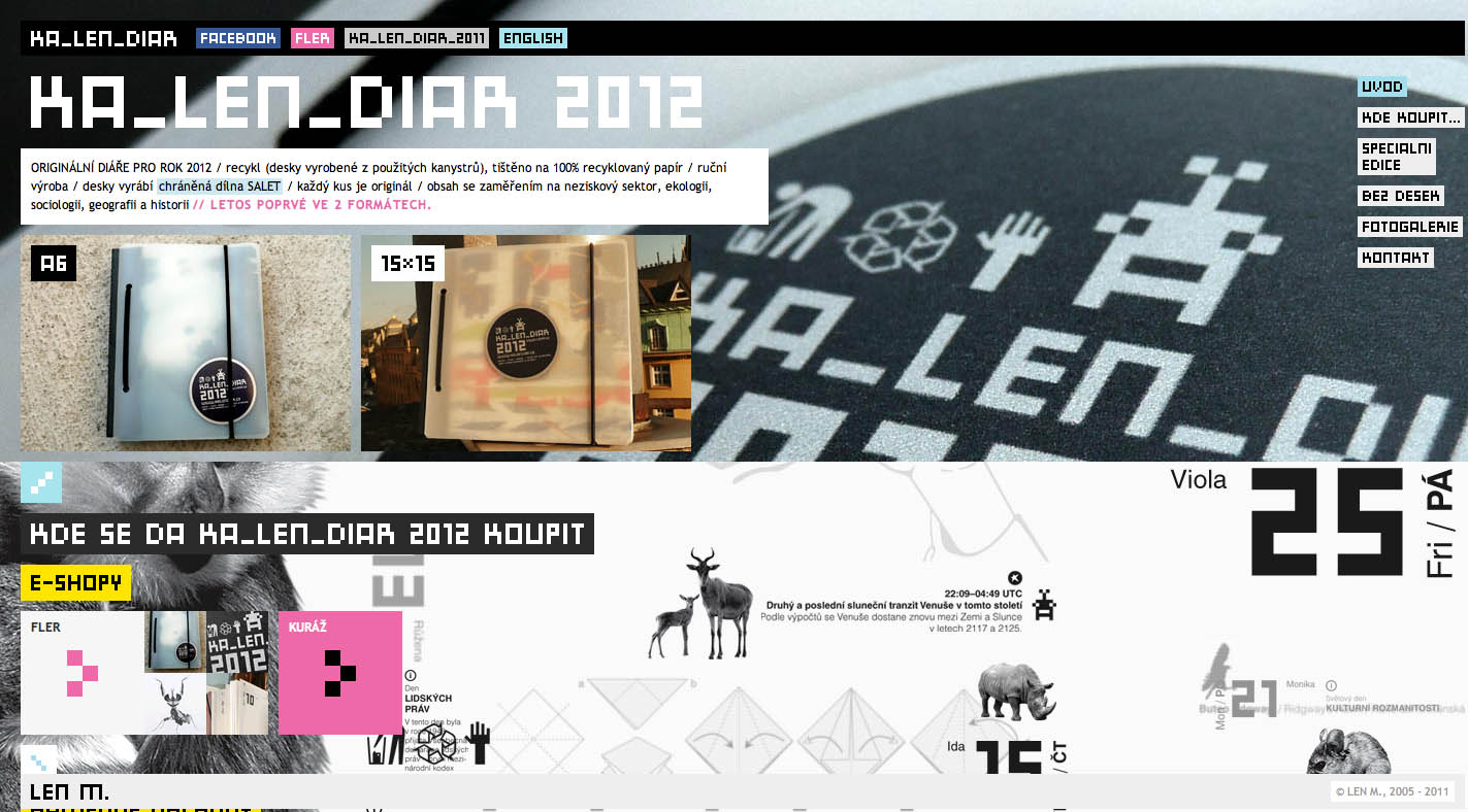Kalendiar 2012 Website Screenshot