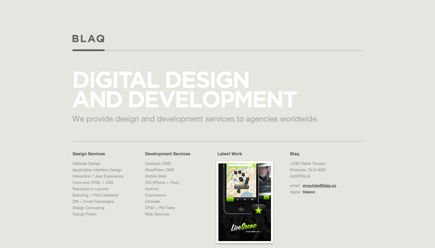 Blaq Website Screenshot