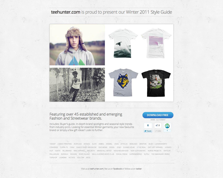 TeeHunter Winter 2011 Style Guide Website Screenshot