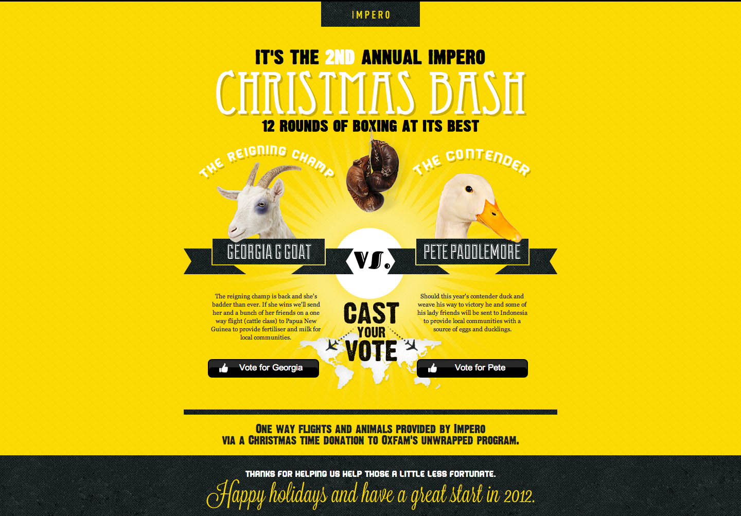 Impero Charity Bash Website Screenshot