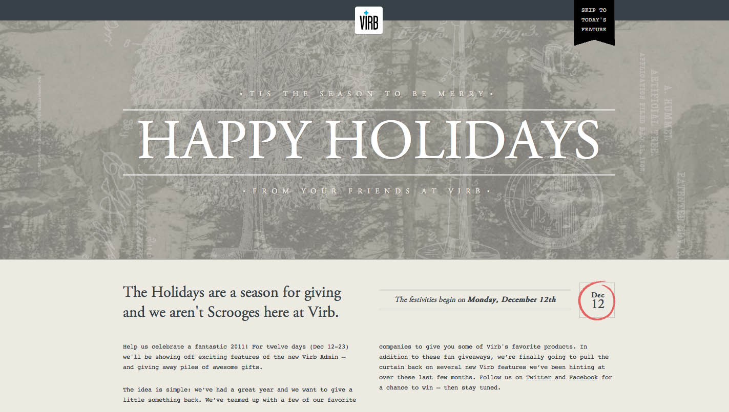 Happy Holidays from Virb Website Screenshot