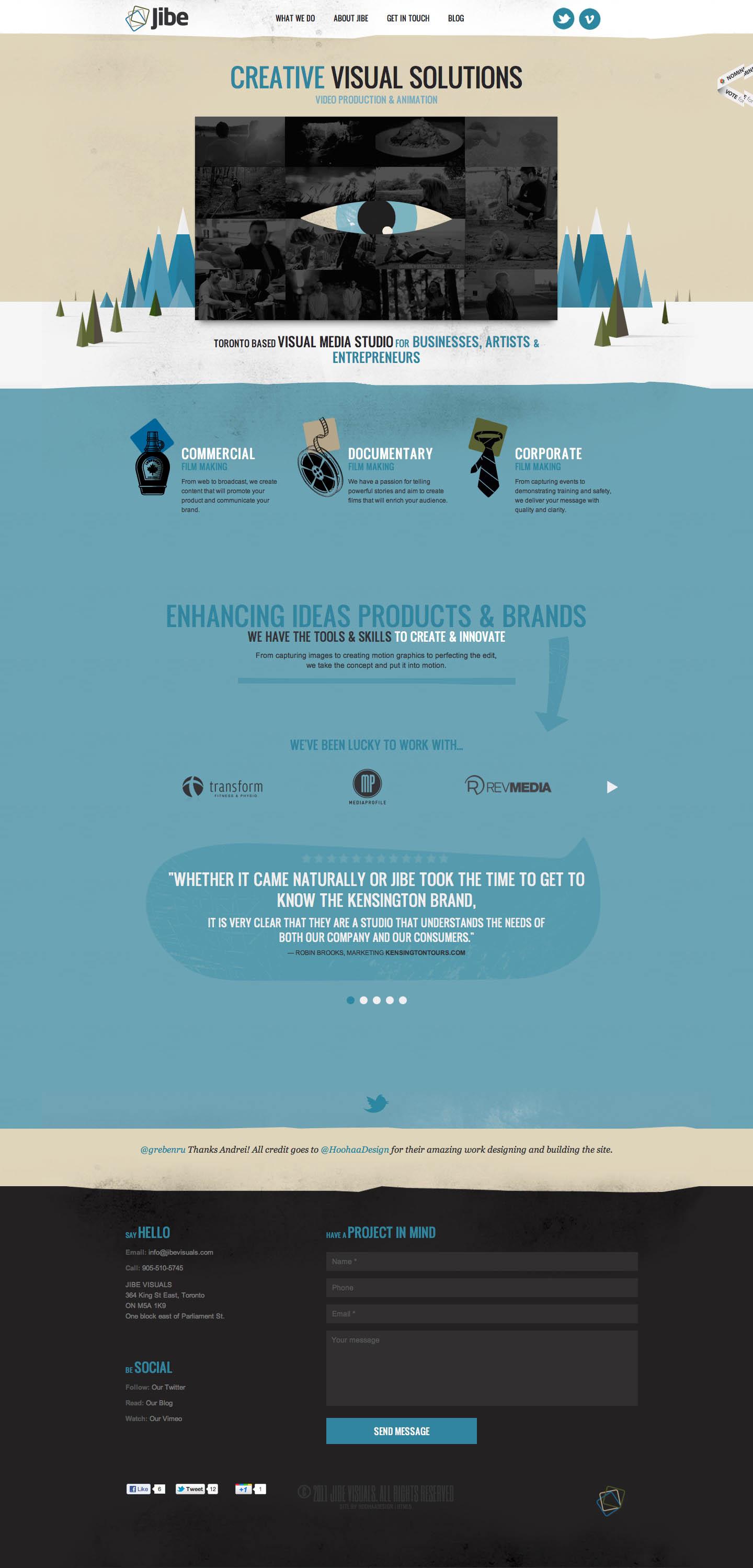 Jibe Visuals Website Screenshot