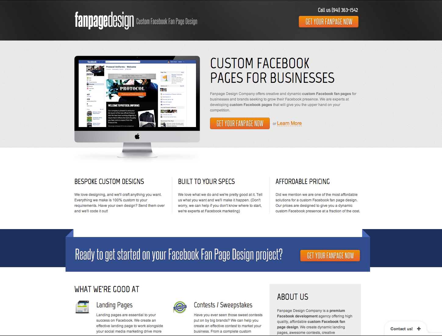 Fanpage Design Website Screenshot