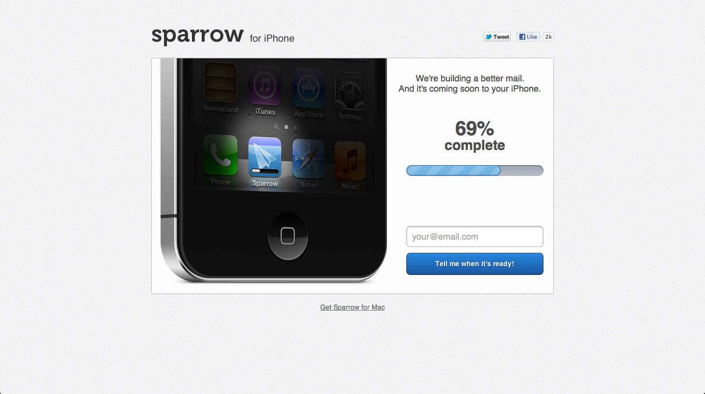 Sparrow for iPhone Website Screenshot