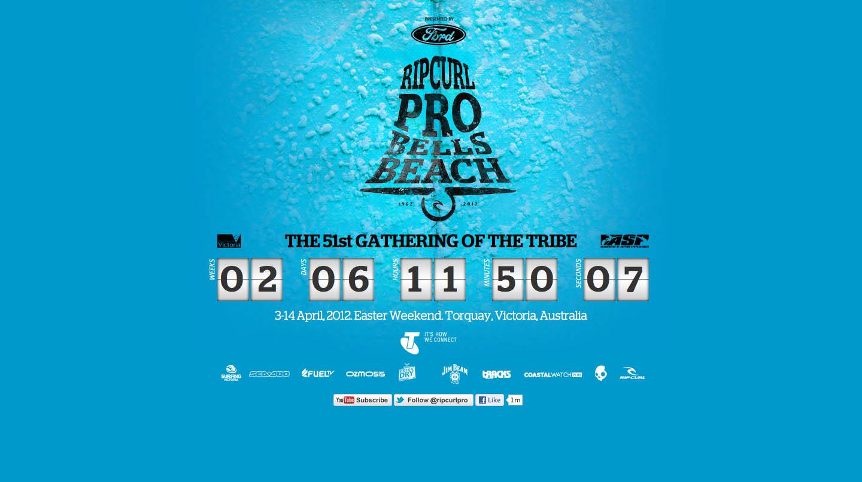 Rip Curl Pro 2012 – Bells Beach Website Screenshot