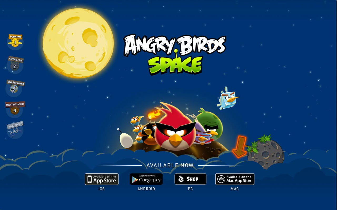 Angry Birds Space Website Screenshot