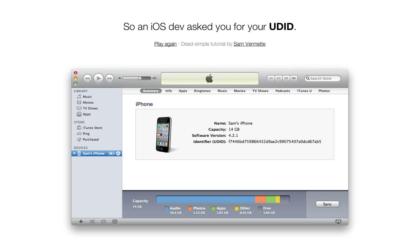 What's my UDID? Website Screenshot