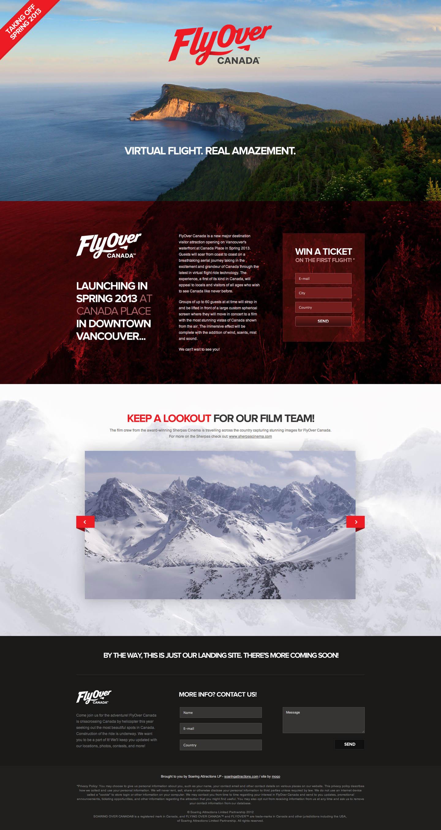 FlyOver Canada Website Screenshot