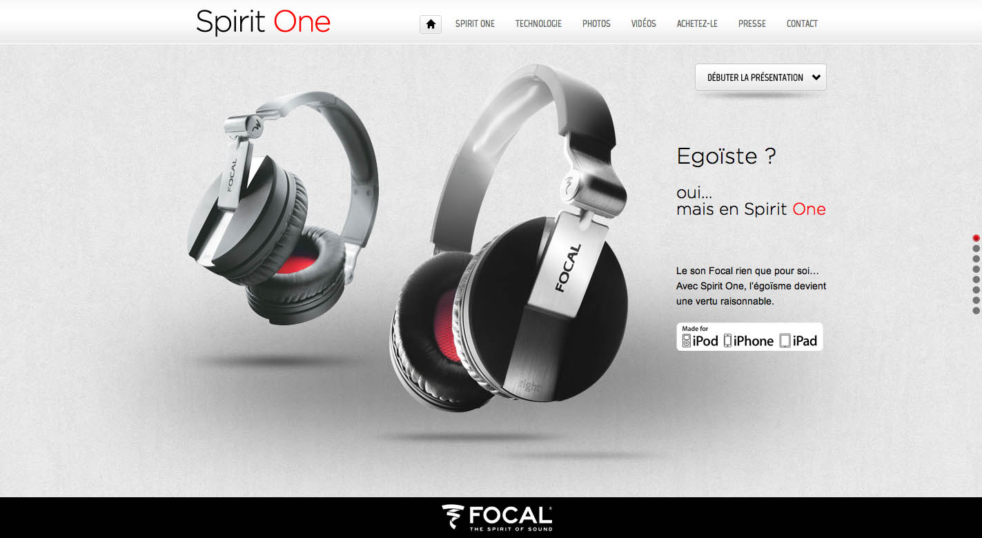 Focal Spirit One Website Screenshot
