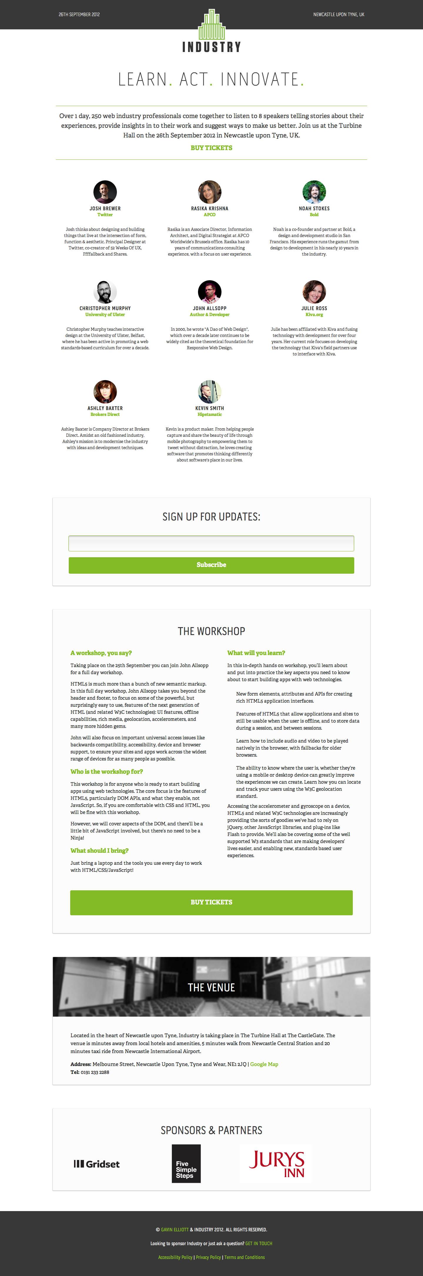 Industry Conference Website Screenshot