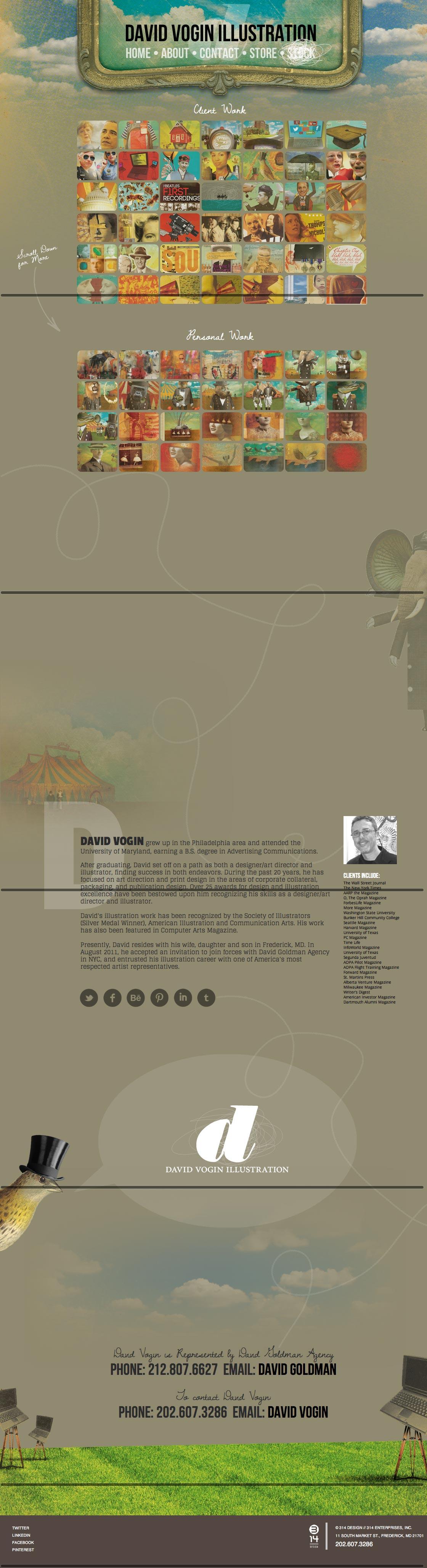 David Vogin Illustration Website Screenshot