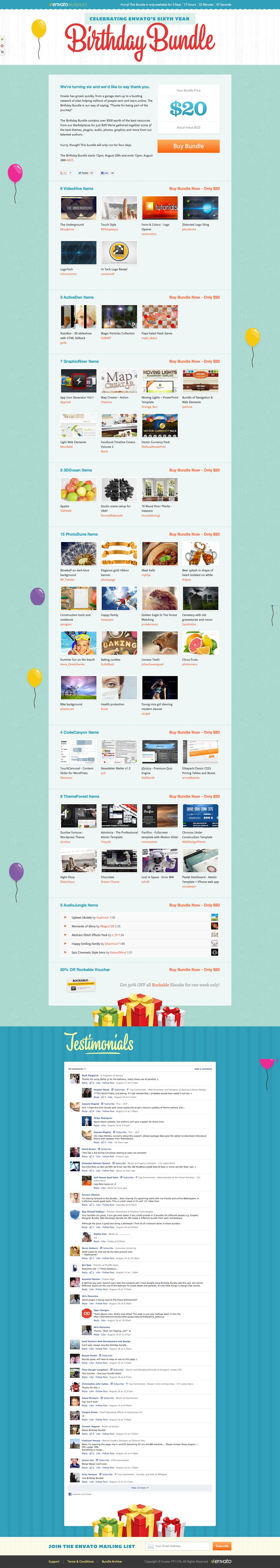Envato Birthday Bundle 2012 Website Screenshot